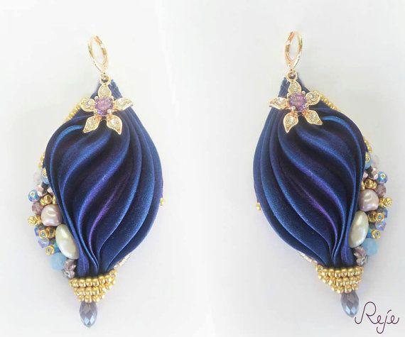 Shibori silk earrings orecchini seta shiboriOOAK by Rejesoutache, $70.32