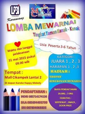 #LombaMewarnai #LP3IKarawang Lomba Mewarnai Tingkat Taman Kanak-kanak 2015 LP3I Karawang  ACARA: 31 Mei 2015  http://infosayembara.com/sayembara.php?judul=lomba-mewarnai-tingkat-taman-kanak-kanak-2015-lp3i-karawang