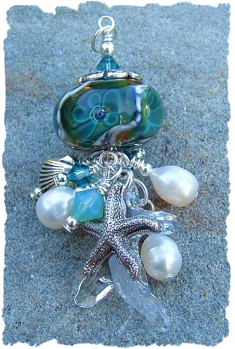 Sea Flower , Boro Lampwork Bead Pendant, Necklace Focal
