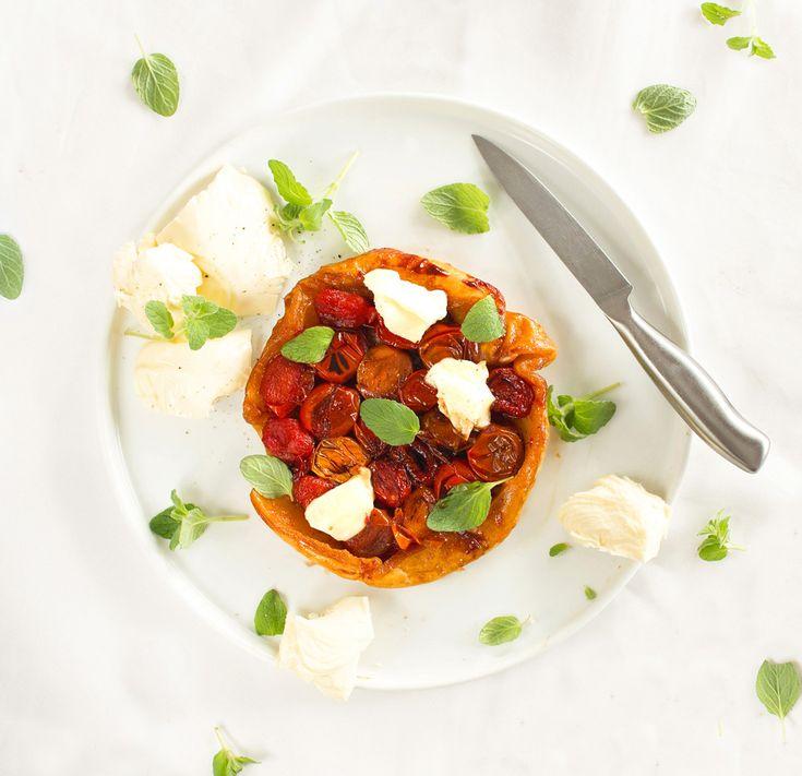 The Kiwi Cook | Heirloom Cherry Tomato Tarte Tatin with Buffalo Mozzarella | http://thekiwicook.com