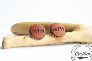 Monogrammed Leather Cufflinks