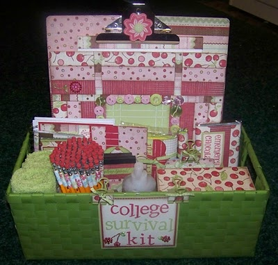 College survival kit. Make for my senior girl who wants to go to college to be a teacher. Include gc to coffee shop or univ. Bookstore