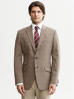 Tailored brown plaid two-button blazer | Banana Republic | $250