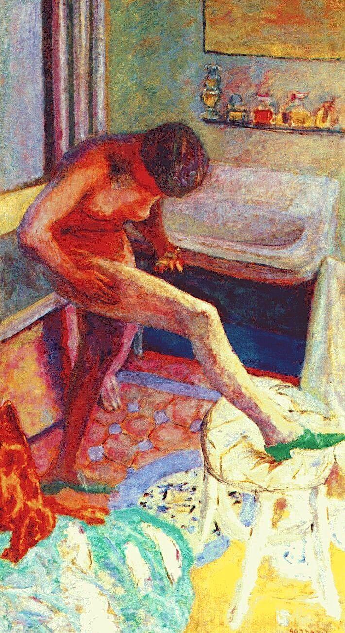 Pierre Bonnard- Nude with green slipper, 1927  Art Experience NYC  www.artexperiencenyc.com