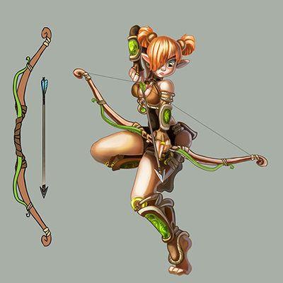 enna artist - archer girl, concept art, game art, 2d art