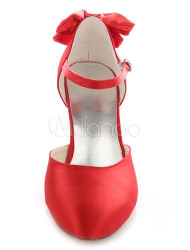 Bombas nupcial rojo arco correas zapatos de novia para mujeres-No.4
