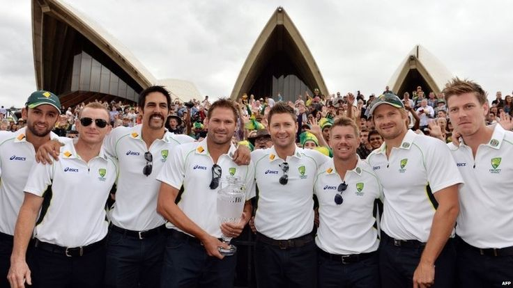 Australia's cricket team members (L-R) Nathan Lyon, Chris Rogers, Mitchell Johnson, Ryan Harris, Michael Clarke, David Warner, Shane Watson,...
