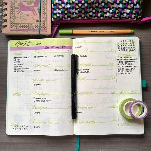 Les 2 premières semaines du mois d'août avec Liste des choses à faire, événements des semaines suivantes, liste des dépenses et Suivi des séances de sport et prise de poids