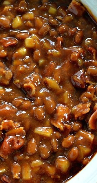 BBQ Baked Beans.  I made these for recent fish fry and got favorable reviews.  Including mine!  They were delicious.  I was a little hesitant because there's no ground beef, but they are so flavorful without it, you don't miss it.  I used Sweet Baby Ray's bbq sauce and I was happy. Yum!