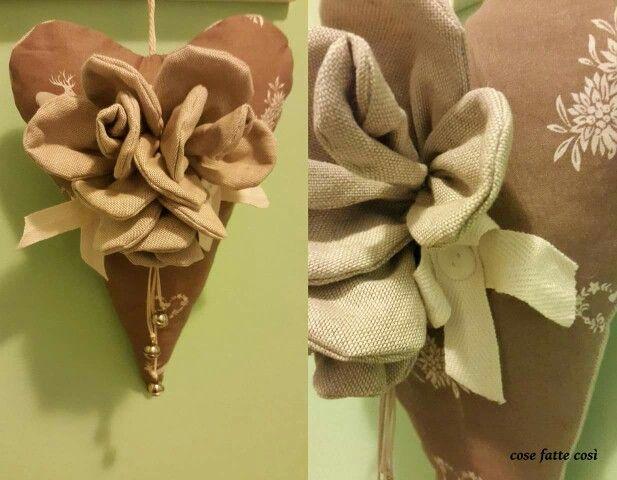 cuore Fuoriporta Natale stoffa pizzo nastro perline bottoni