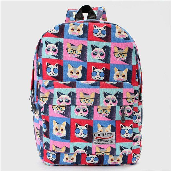 Cheap Women Students Lovely Cute Cat Print Cartoon Canvas Casual Backpack School Bags online - NewChic