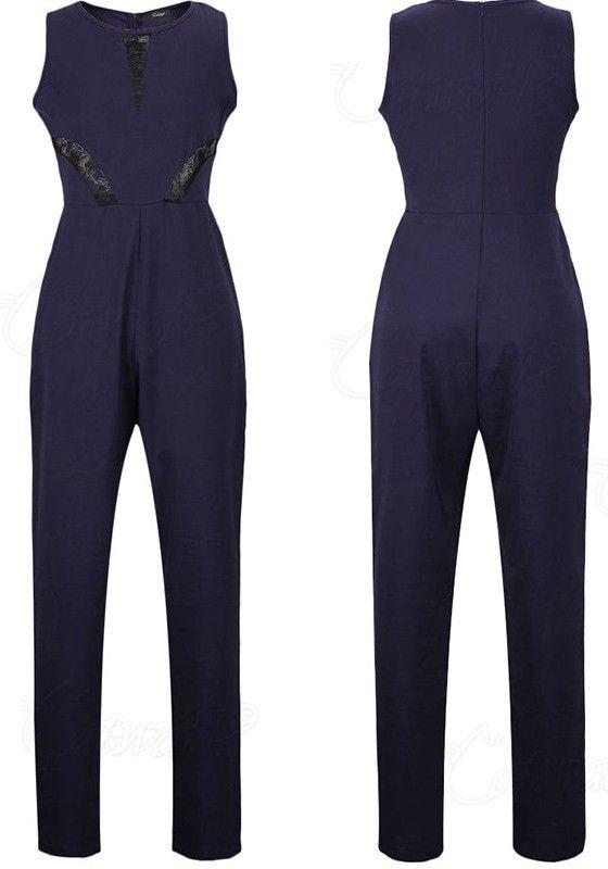 Marineblau Elegant Damen Jumpsuit Lang mit Spitze Hosen Ärmellos Overall Party Abendmode