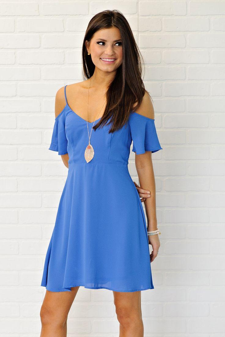 * Liesa Cold Shoulder Dress - Blue