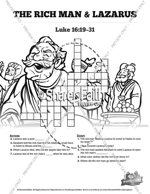 Luke 16 Lazarus and the Rich Man Sunday School Crossword