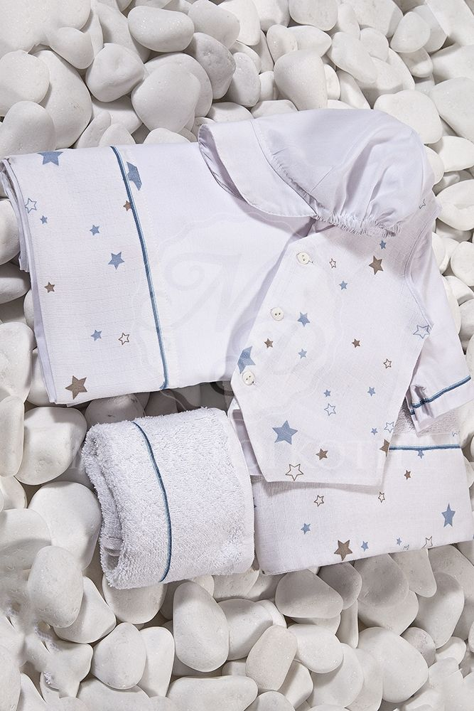 Λαδόπανα βάπτισης για αγόρι με φάσα τυπωμένα αστεράκια