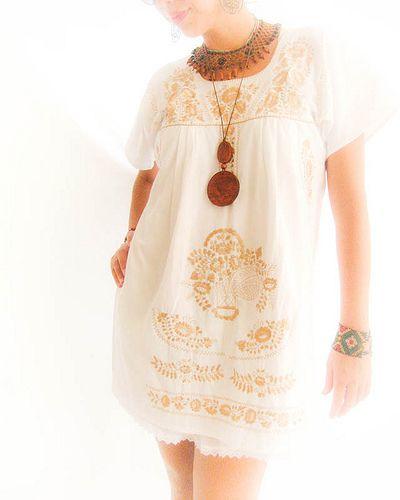 Mexican white dress lace crochet blouse