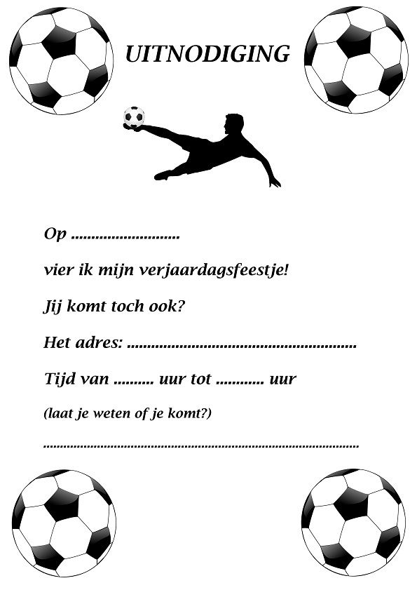 uitnodiging kinderfeestje met als thema voetbal