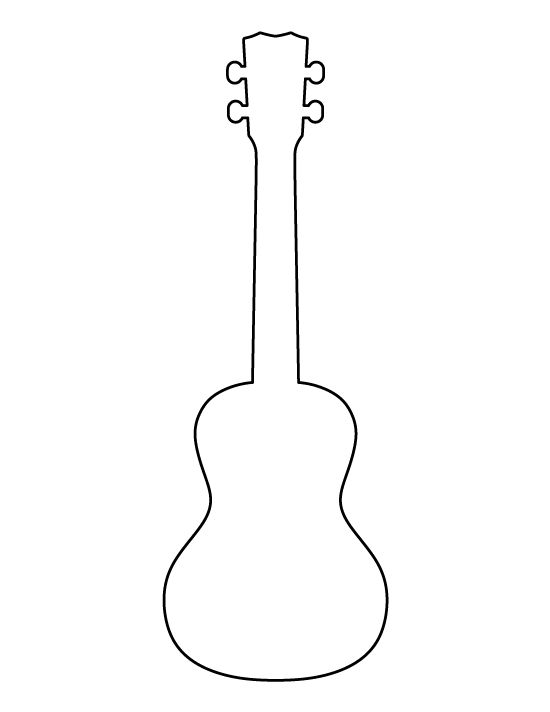 Ukulele pattern. Use the printable outline for crafts, creating stencils, scrapbooking, and more. Free PDF template to download and print at http://patternuniverse.com/download/ukulele-pattern/
