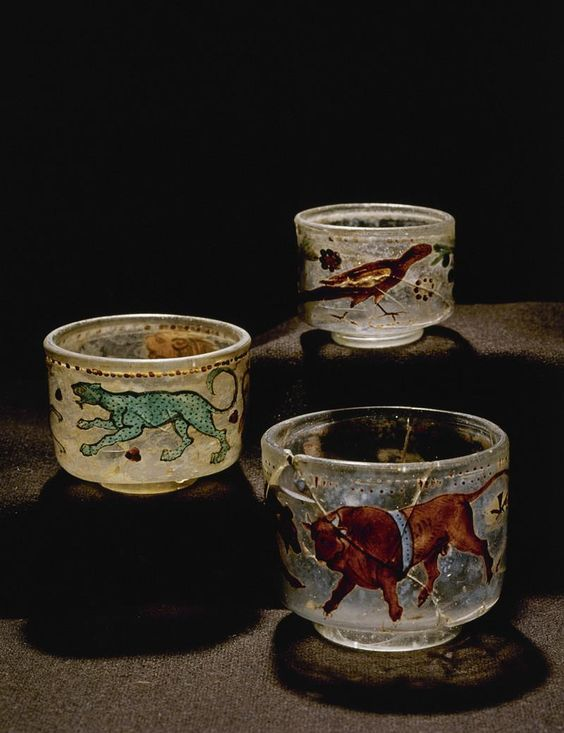 Roman painted glass circus cups, 2nd century A.D. Found in Varpelev, Denmark. National museum Copenhagen, Denmark