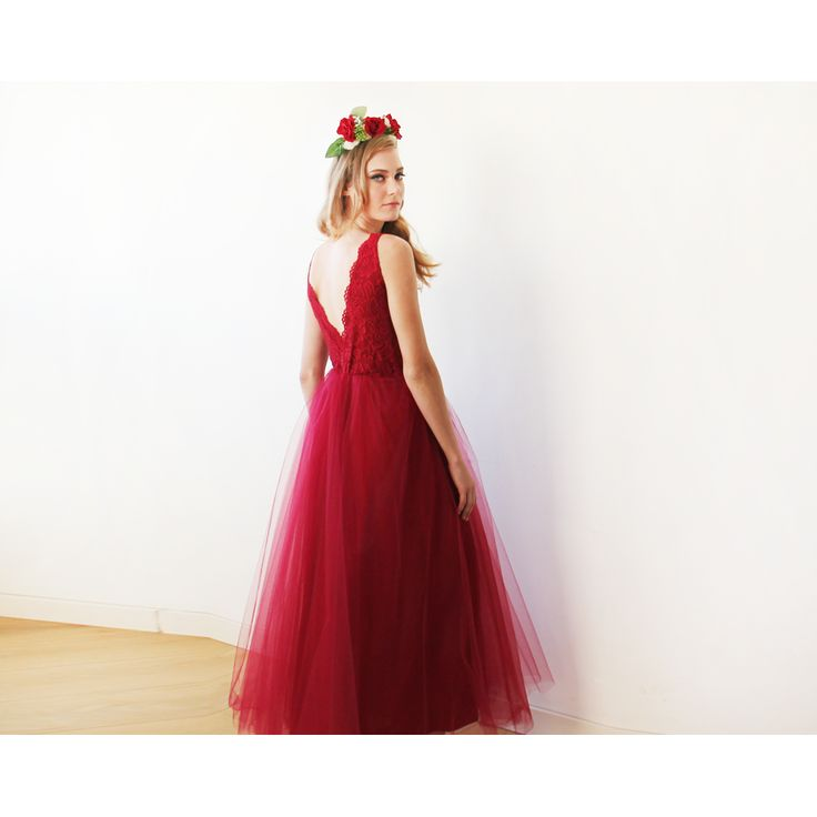Bordeaux Tulle and Lace Gown, Lace and Tulle Maxi Gown