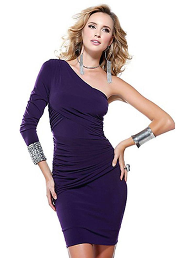 Sheath-Short-Length-Long-Sleeve-Purple-Elastic-Chiffon-Cocktail-Dress