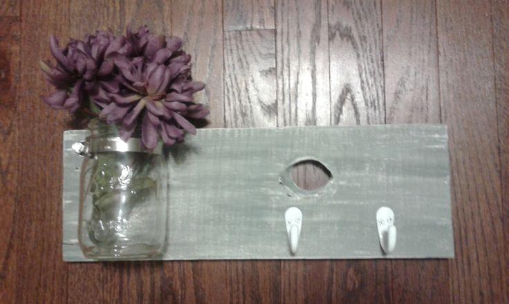 Mason Jar Wall Decor. Dog Leash Holder. Mason Jar Organizer. Rustic Decor. Country Decor. Farmhouse Decor. House Gift. Bathroom Storage by AdrianandLeo on Etsy