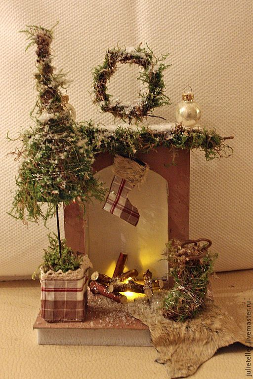 Купить Рождественский камин - коричневый, рождественский камин, миниатюра, подарок, Новый Год, подсвечник, Декор