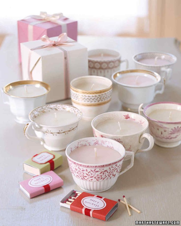 Antique teacups that have lost their saucers still make sweet gifts when fitted with candles.