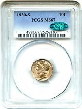 1930-S 10c PCGS/CAC MS67 - Mercury Dime - Registry Quality