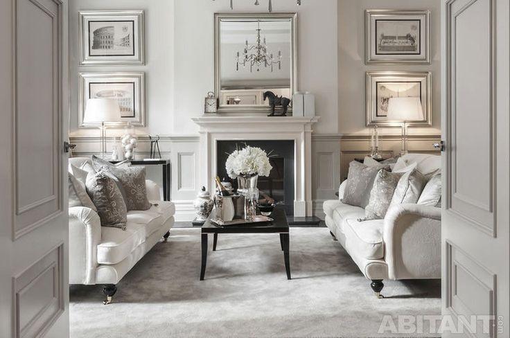 Белая гостиная с камином