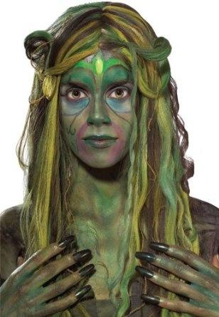 Swamp creature makeup.