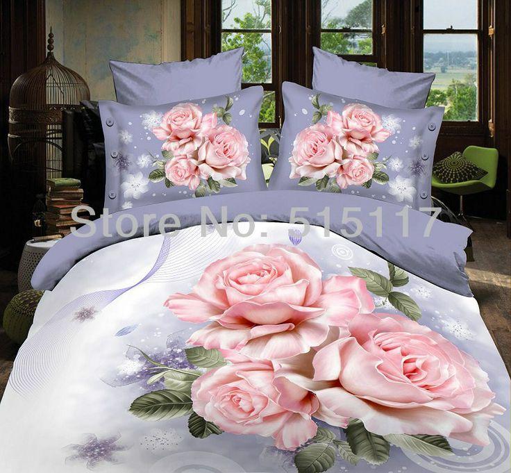 Rosas Flores Da Cama Conjuntos 4 Pcs Duvet Cama Colcha