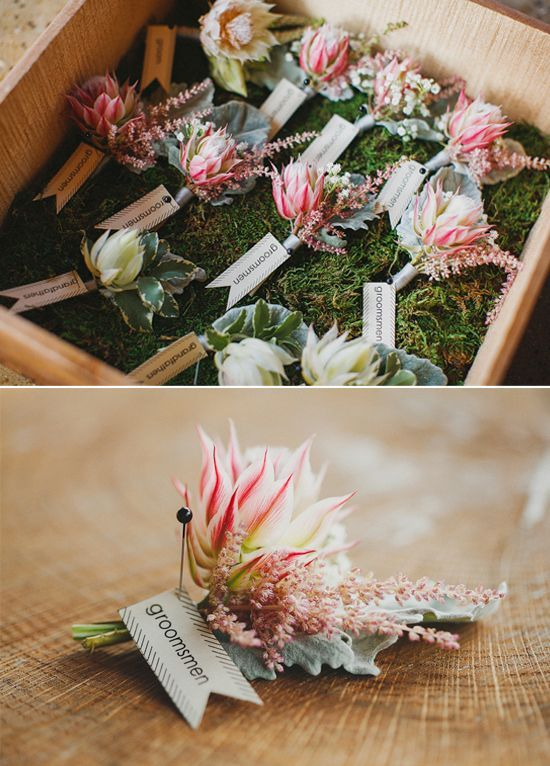 Blushing Bride Buttonholes, Gorgeous!