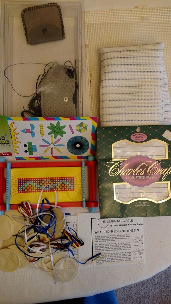Assorted Lot of Craft Items - Weaving Machine, Medicine Wheels, Cross Stitch etc #DifferentBrands
