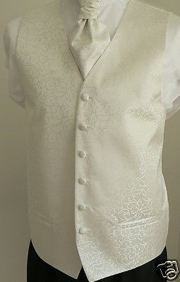 Classic Ivory  Scroll Men's/Boys' Wedding Waistcoat & Matching Cravat Set