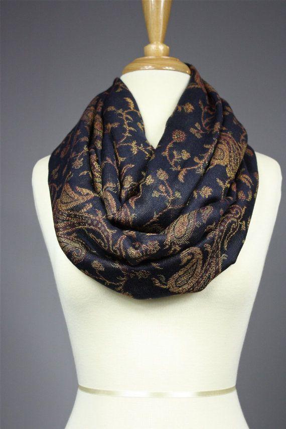 Paisley pashmina Scarf , infinity  scarves , Black, golden on Etsy, $29.00