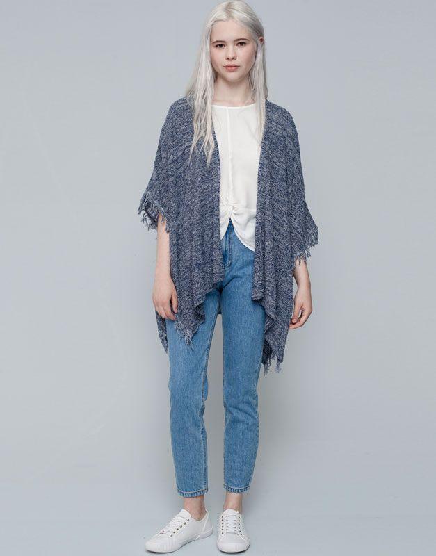 Pull&Bear - femme - vestes et pulls - cape maille franges - bleu - 09583309-