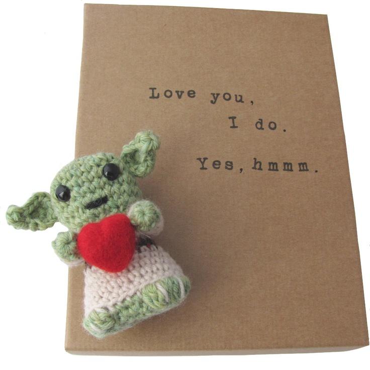 Star Wars Amigurumi Yoda Valentine Gift. $27.00, Via Etsy.