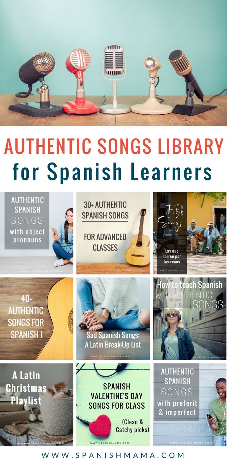 A HUGE collection of authentic Spanish songs for the Spanish classroom. These are sorted by levels and themes (object pronouns, present, preterite, imperfect, subjunctive, etc., Navidad, Valentine's Day, classic songs and more). #spanishclass #spanishsongs #authres