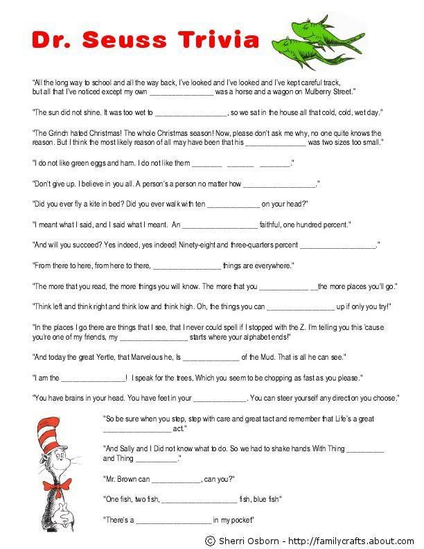 dr seuss printables | Printable Dr Seuss Trivia Game