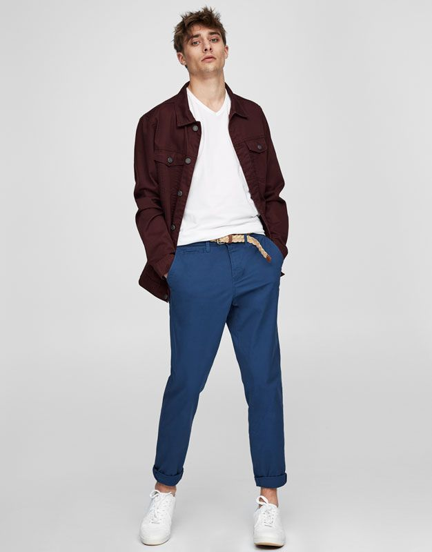 Pull&Bear - man - clothing - trousers - chino-style comfort trousers with belt - petroleum - 05681525-I2017