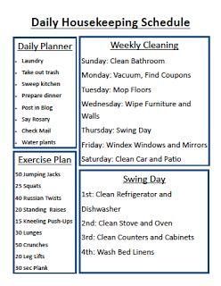 New Housekeeping Schedule