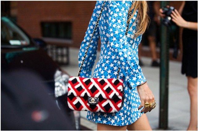 Tracolla fantasia In pelliccia dipinta, Chanel #nyfw #streetstyle #denim #bag #accessories