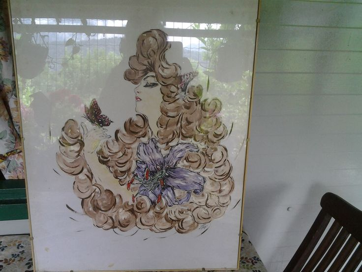 """""""Omaggio a Mucha"""". Volto femminile dipinto su seta, 1999."""