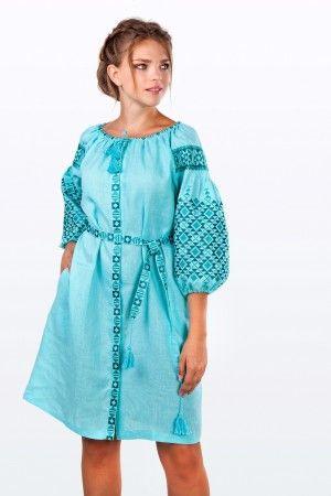 Чарівна лляна сукня  натуральний льон яскравого та енергійного зеленого  відтінку
