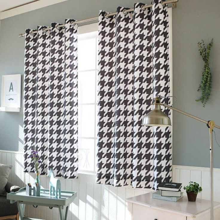 "Hound Tooth Checked Blackout Curtains Eyelet Grommet 102""W X 67""H Pair 1Set #Handmade #Modern"