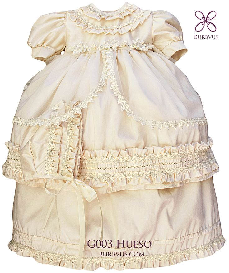 #Ropon para niña, modelo G003, disponible en seda color blanco o color hueso. #bautizo #vestidoparanina