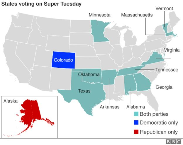 Us Election 2016 Super Tuesday Tests Candidates Bbc News