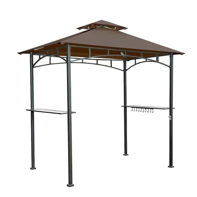Sunjoy Brown Steel Rectangle Grill Gazebo Exterior 4 99 Ft X 8 Ft Foundation 5 Ft X 8 Ft Lowes Com In 2020 Grill Gazebo Gazebo Replacement Canopy Gazebo