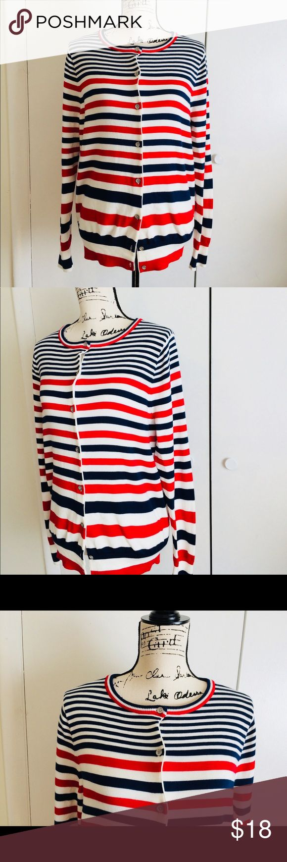 """Lands End Red White Blue Striped Cotton Cardigan Lands End Red White and Blue Striped 100% Suprima Cotton Cardigan Sweater Size M 10-12  EUC. No holes and tears. Looks brand new!  Measurements laid Flat: 19"""" Chest from underarm to underarm, 26"""" H from shoulder to bottom of Sweater, 25"""" Sleeves.  Comes from smoke free and pet free home Lands' End Sweaters Cardigans"""